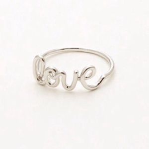 Jewelry - Silver Plated Love Cursive Ring NWOT